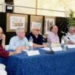 """19/06/04 - Convegno """"Casa Artusi"""" presso Casa Artusi Da sinistra Ivano Marescotti, Piero Meldini, Raffaele Crovi, Folco Portinari, Mauro Grandini"""