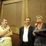 Vito, Michele Serra, Paola Gho durante la consegna del Premio Marietta ad Honorem